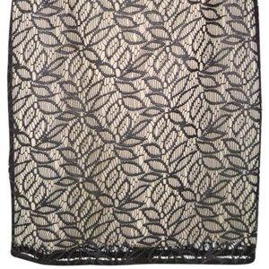 Ann Taylor faux leather lace cutout pencil skirt 8
